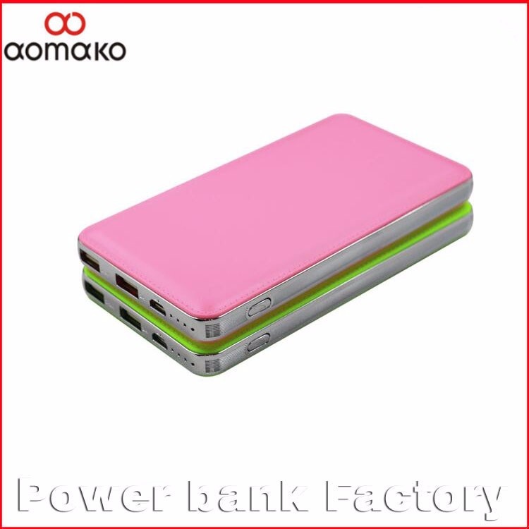2016 Wholesale portable charger power bank , leather effective power bank, dual output external battery charger