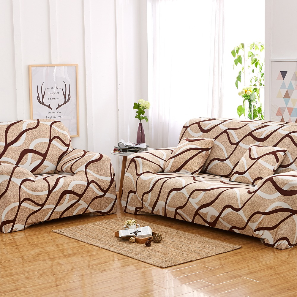 China Supplier Cheap Beige Wave Elastic Full Sofa Cover Printed ...