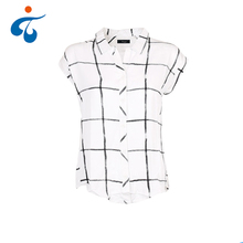 Manufactory wholesale short sleeve casual white plaid 100% rayon blouse