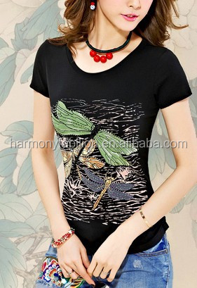 Summer wear the new women's clothing cultivate one's morality cotton T-shirt printing big yards short sleeves of tee shirt