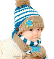 Toddler Kids Winter Knitted Hat Ear Muffs Cap Scarf Set