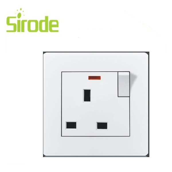 13A switched socket and neon wall switch PC/ABS white/silvery/customized electric wall switch