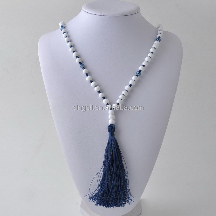 2017 Multicolor Stone Tassel Necklace Semiprecious Stone Necklace