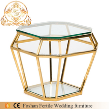 Gold stainless steel italian design glass top coffee table