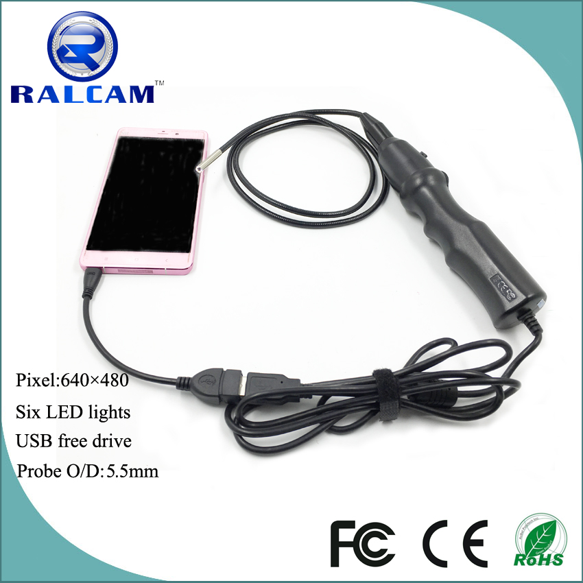 Hot selling flexible 1m snake tube video 5.5mm waterproof endoscope 6 led lighting for smartphone otg