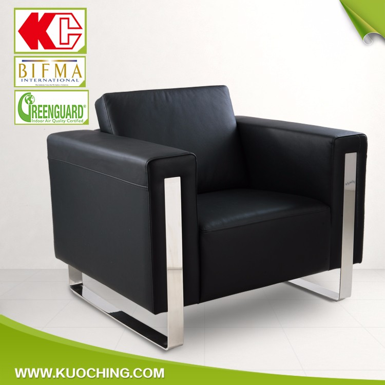 Top Grade Metal Frame Leather Office Conference Reception Sofa