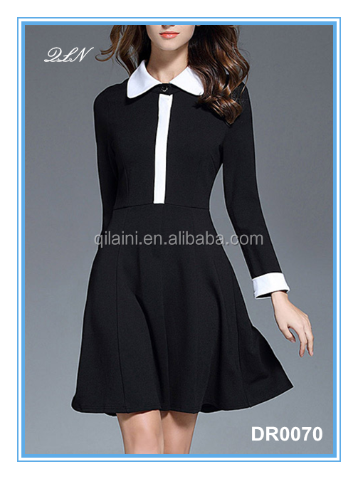 Latest pictures office dress for ladies, 2017 elegant fashional office dress with long sleeve from Guangzhou clothing