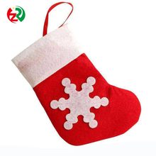 Factory promotional decorative artificial mini snowflake Christmas socks,handmade felt christmas hanging ornament for sale