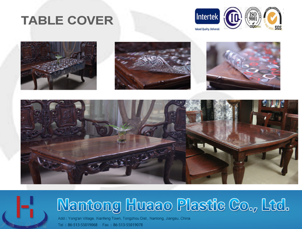 transfer printed pvc table cover gold color different designs laminated table covers