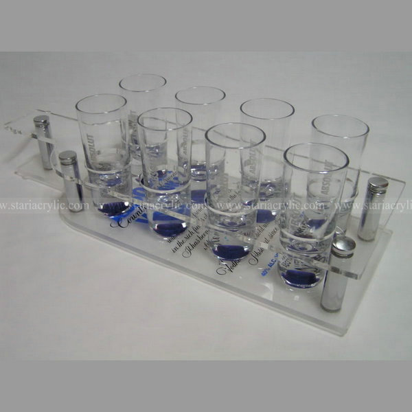 Acrylic shot glass stands, Bottle Shape Detachable Acrylic Wine Cup Holder, 8 hole Drink Storage Tray