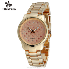 pink stone accented dial link bracelet women rose gold watch