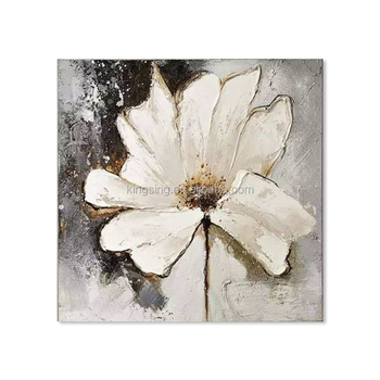 hotsale whate flower unframed decorative abstract oil painting patterns on canvas