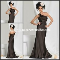 BMD097 Hot Selling One-Shoulder Ruffles Empire Brush Long Formal Western Wedding Bridesmaid Dresses