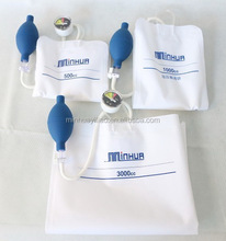 Disposable Pressure Infusion Bag, Blood Pressure Infuser, Medical Drip Bag with Piston pupm & aneroid gauge