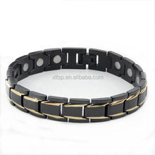 stainless steel bracelet jewelry men black bio magnetic stainless steel bracelet