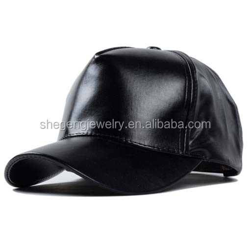 Black PU Leather Adjustable Solid Deluxe Baseball Ball Cap