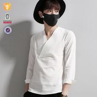 OEM customize V-neck slim fashion mens linen shirts