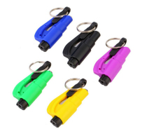 Logo Printed Mini Emergency Tool 3-in1 Car Safety Hammer with Keychain