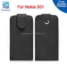 Mix Colors, Flip leather case for Nokia Asha 501 cover factory price