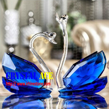 Sapphire crystal faceted swans shaped paperweight with gift box