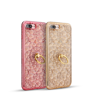 Shengo Crystal Flower Electroplate Soft TPU Bling Diamond Phone Case with Ring Holder