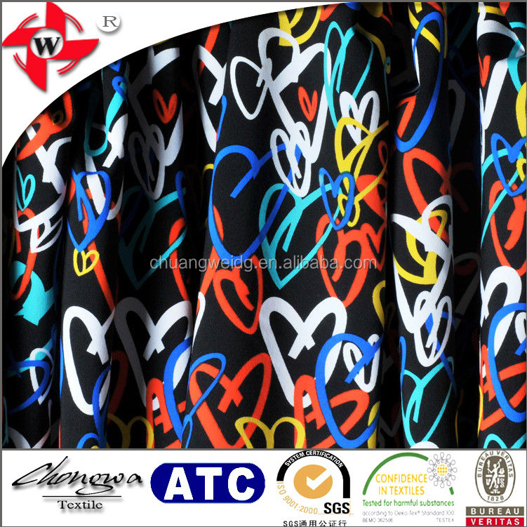 Heart Design Nylon Lycra Printed Fabric for Tight Pants