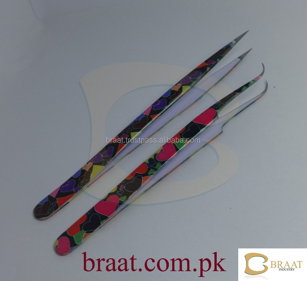 Flowers and hearts shine design on eyelash extension tweezers