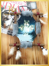 Painting Wolf Dream Catcher Feather Decoration