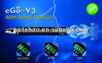 SLB ego-v v3 mega,1300mah LCD 3-6v variable voltage battery,3-15w variable watt battery with atomizer ohm meter