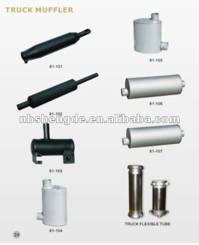 Truck muffler, truck pipe, pipe connector