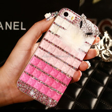 Girls jelly lovely rhinestone bow-knot printing plastic mobile phone cover for girls for iphone 5