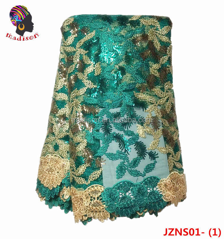 Green African lace embroidery fabric net organza with sequins Gzmadison/JZNS01-1