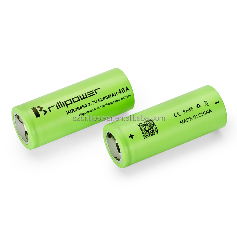 High quality brillipower 26650 battery 3.7v 5200mAh 40A rechargeable battery large capacity li-ion battery