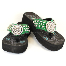SOFT SOLE WESTERN STYLE WOMEN RHINESTONE FLIP FLOPS SLIPPER FOR LADIES