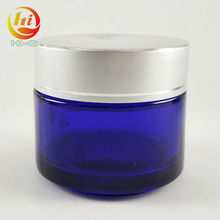 custom 50g blue skin care glass cosmetic container 100g 30g cream gel jar manufacture