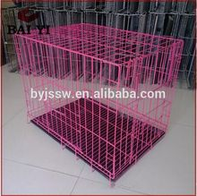 Collapsible double dog cage with metal tray