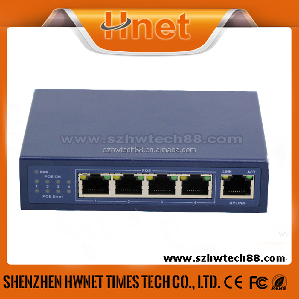 Factory Price 4 Port Ethernet POE Splitter Switch For IP Camera 10/100Mbps
