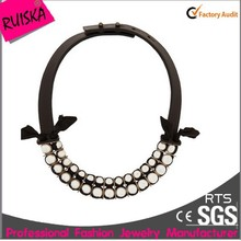 Special Design Round Beads Jewelry Accessories Fake Pearl Leather Necklace