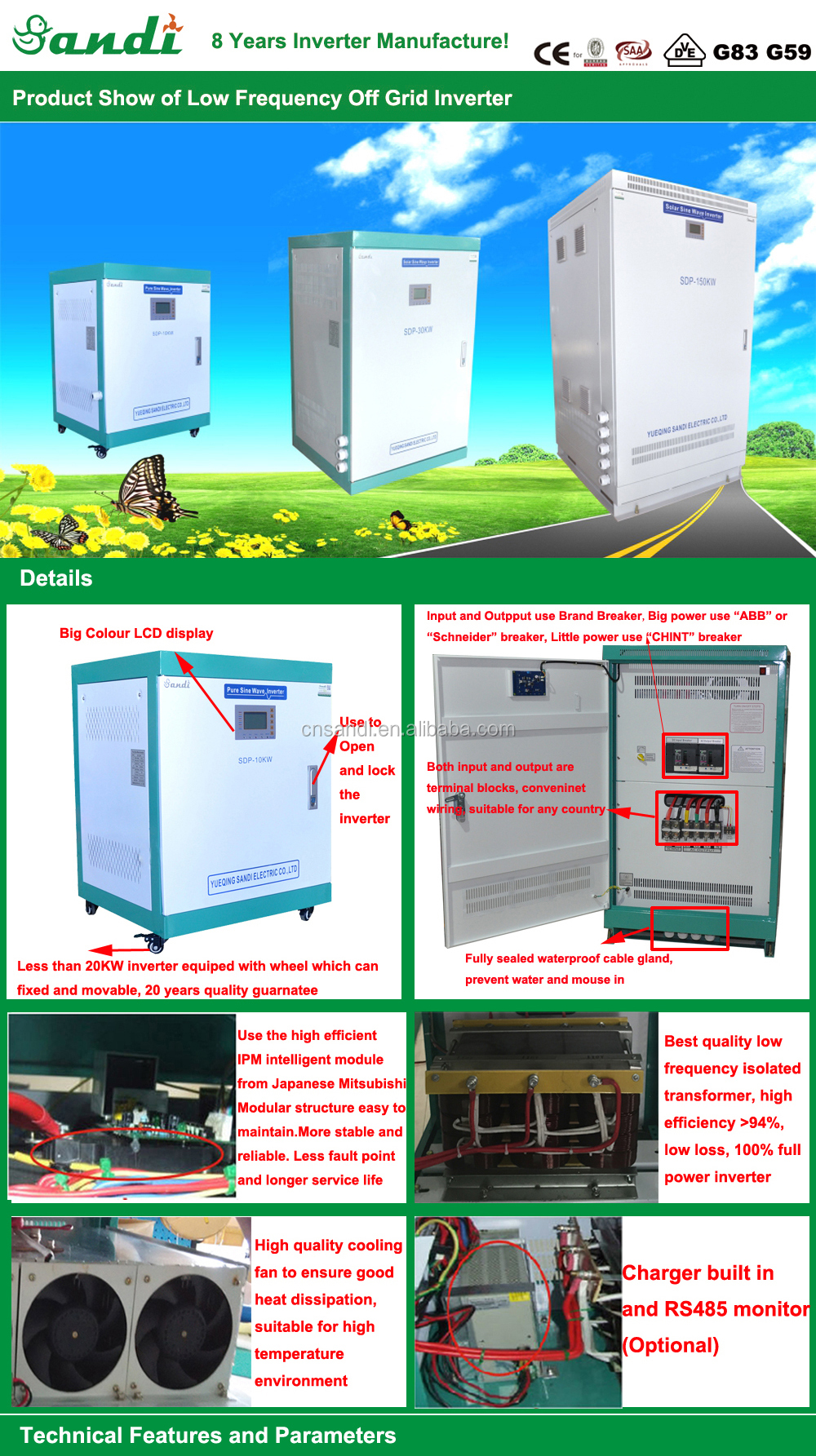 High Quality Pure Sine Wave power inverter 10kw two phase 110 220v split phase inverter