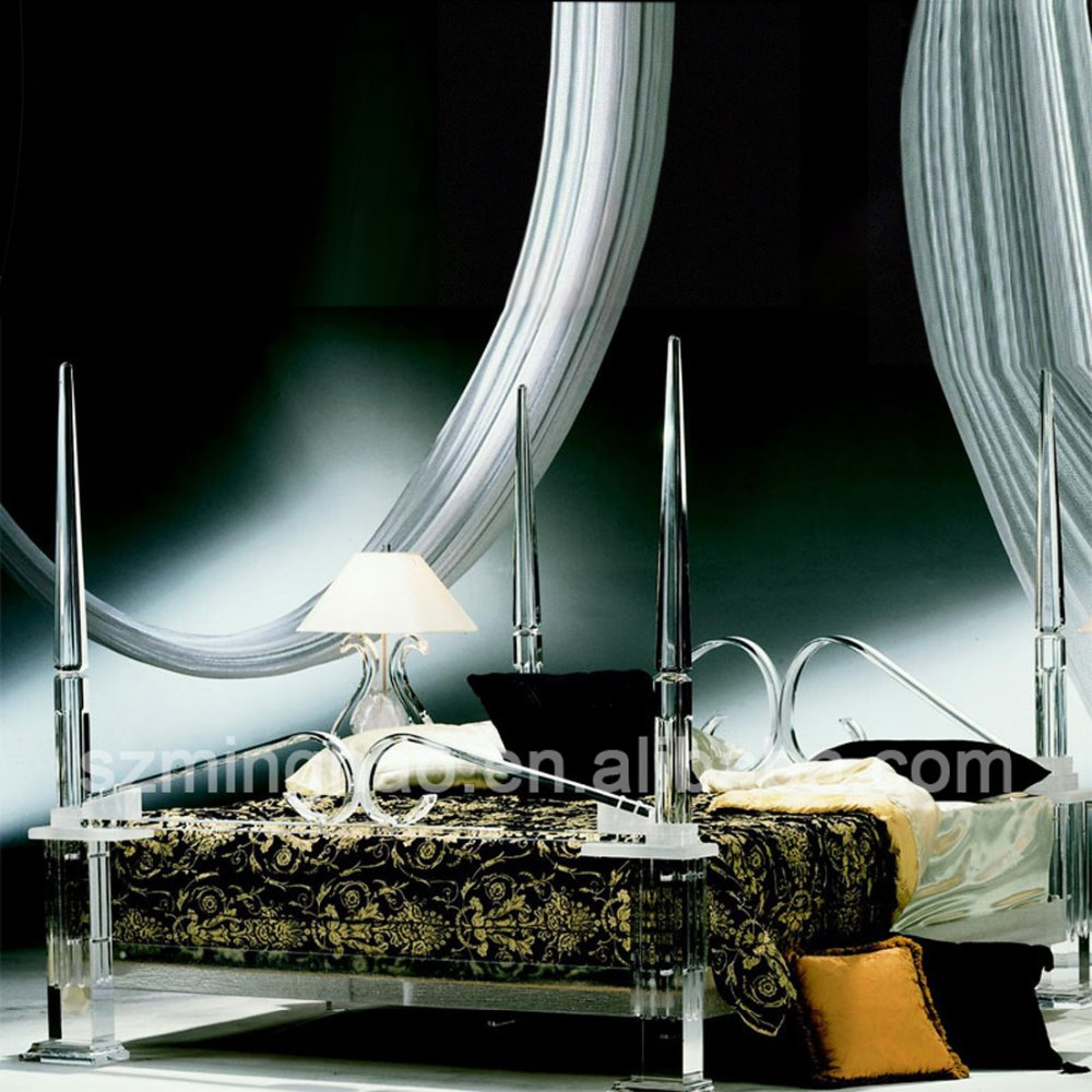 Clear acrylic furniture decorative luxury bed frame