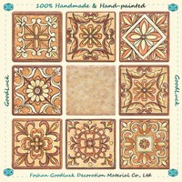 Hand Painted Brown Glaze Bathroom Ceramic Board Design Wall Tile 6 X 8
