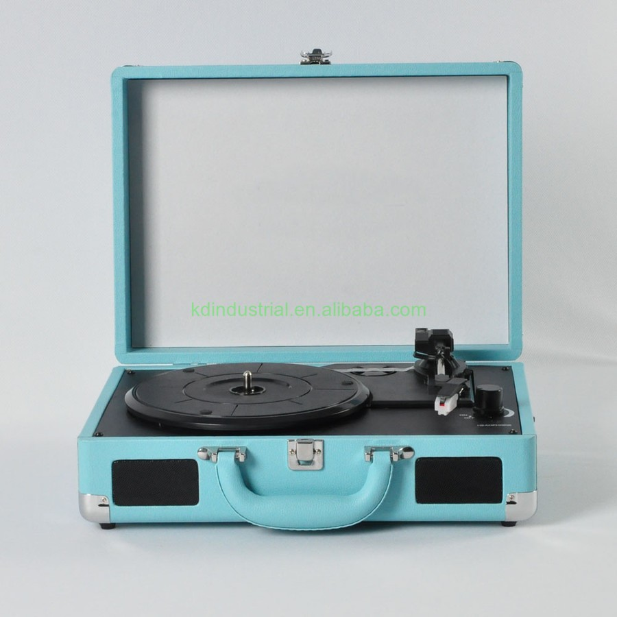 Hottest Sales Vinyl Player Blue Suitcase Turntable Recorder Player with Bluetooth 3 speed High quality Vinyl turntable Player