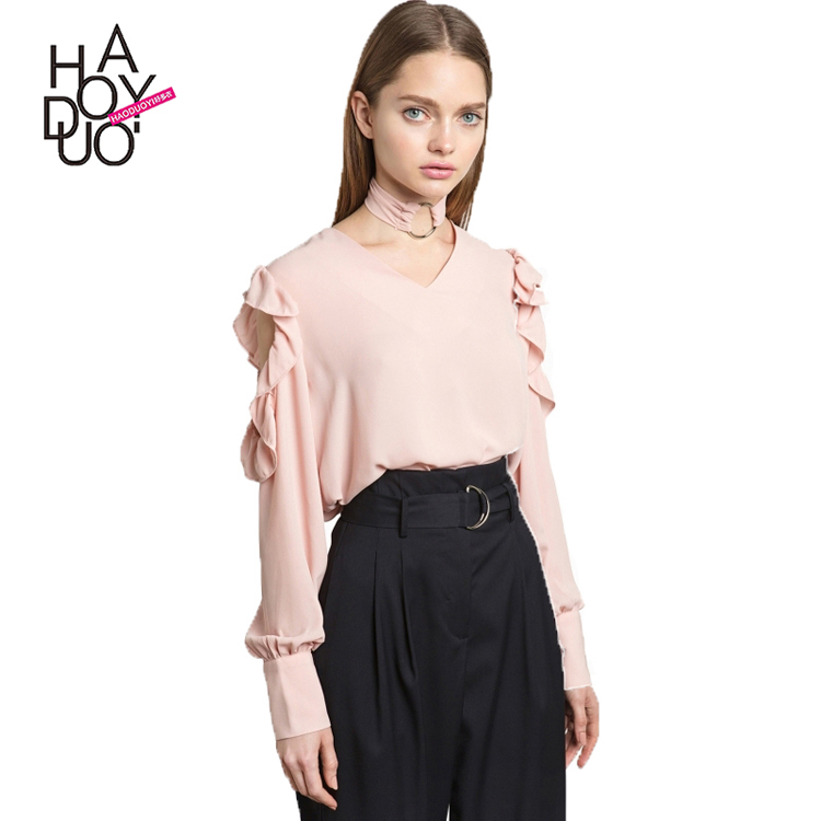 HAODUOYI Fashion Summer Pink Shirt Women <strong>O</strong> Neck Ruffles Sleeve Cold Shoulder Top Casual Daily Preppy Sweet Blouse for Wholesale