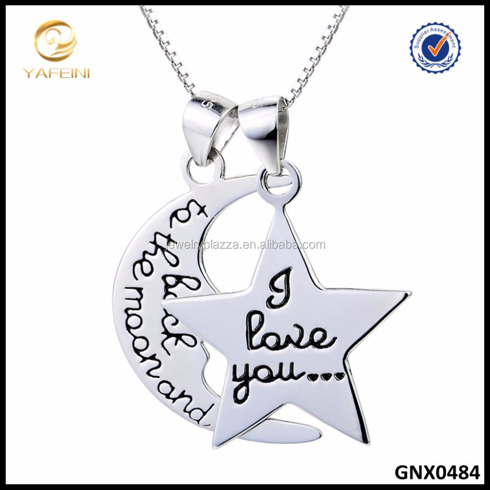 Wholesale Fashion Jewelry 925 Sterling Silver Necklace MOON And Star Necklace