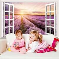 Removable custom creative PVC bedroom warm home 3D fake window sunrise wall sticker for home decoration