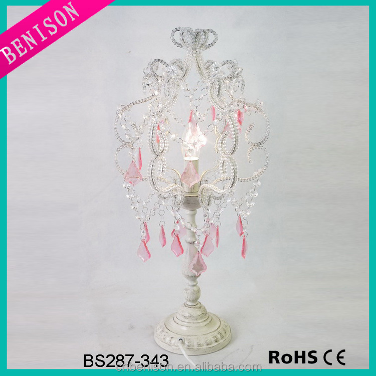 Classic cheap crystal pink chandelier lighting modern decorative crystal chandelier table lamp for kids room lighting