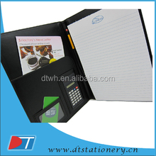a5 black handmade genuine Leather Portfolio with Solar Calculator & Pen