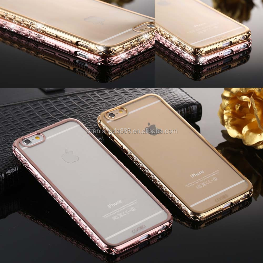 Similar Aluminium alloy frame bumper case,electroplate TPU phone case with diamonds edge side new products 2016