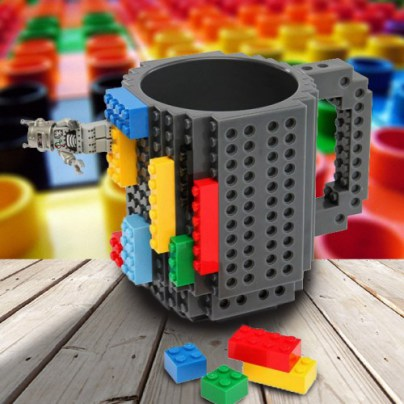DIY Block Puzzle Mug for kids Christmas Gift/Build-On Brick Mug Lego Type Building Blocks Coffee Cup