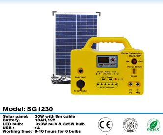 2016 APEX SG-1230W-DC Low Cost Solar Lighting Kit for home using and camping solar generator